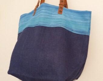 """Thérèse"", bag tote bag reversible, great beach bag, tote bag, purse, tote bag, hobo bag, leather handles, jute, leather"