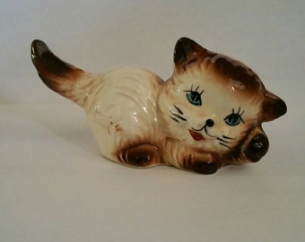 Brown Vintage Cat; Cat Figurine; Antique Cat; 1960's Cat Figurine; Porcelain Cat