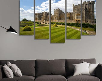 LARGE XL Windsor Castle Near London, United Kingdom Canvas Castle Gardens at Daytime Canvas Print Wall Art Print Home Decoration - Stretched