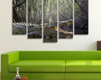 LARGE XL Large Crocodile with Its Mouth Open Canvas Print Sri Lanka National Park Canvas Print Wall Art Print Home Decoration - Stretched