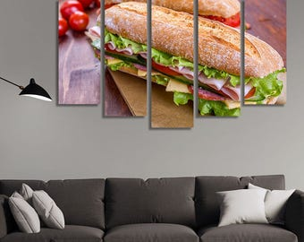 LARGE XL Long Baguette Sandwich with Ham, Salami, Vegetables and Cheese Canvas Wall Art Print Home Decoration - Framed and Stretched - 3023