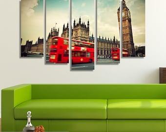 London Art, London Print, London Canvas, Big Ben, Big Ben Clock, British Décor, Street Photography, London Wall Art, Living Room Décor