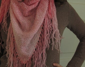 Handwoven Pink Child's Shawl / Women's Scarf