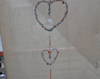 heart double sun catcher with crystal and glass beads