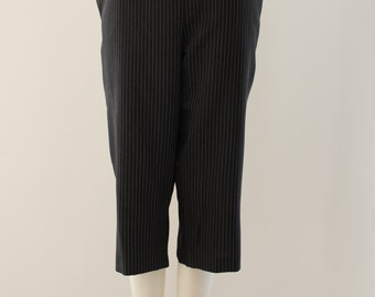 Vertically Striped 3/4 Length Trousers (Black/White)