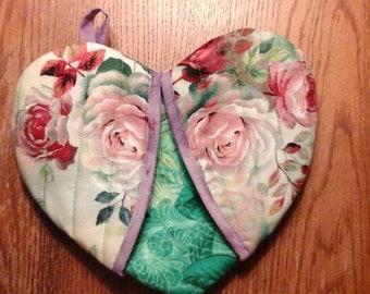 Rose Garden heart shape potholder