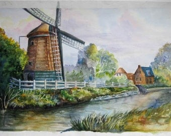 Old mill landscape watercolor print, original watercolor landscape, river painting,  Original art, Watercolor print, small cottage