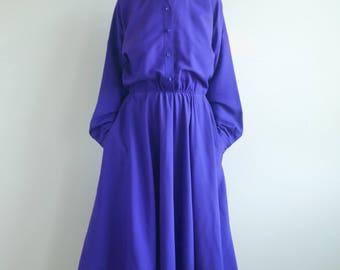 Purple Long Sleeve Shirt Dress