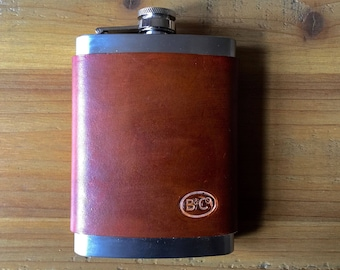 Leather wrapped 8oz Stainless Steel Flask