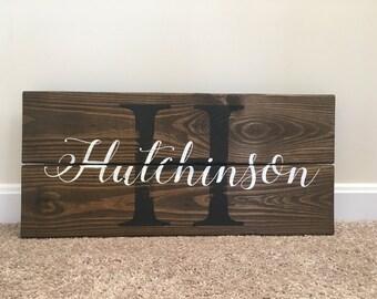"Custom Monogram Wood Sign | 11"" x 23.5"""