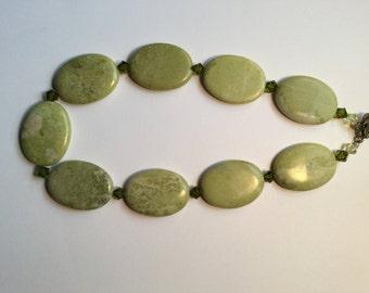 Adventurine Natural Stone Necklace w/ Olivine Swarovski Crystals
