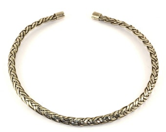 Vintage Woven Braided Collar  Necklace 925 Sterling Silver NC 801