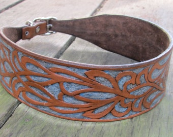 Custom Made To Order Hand Tooled Leather Dog Collars. Examples shown.