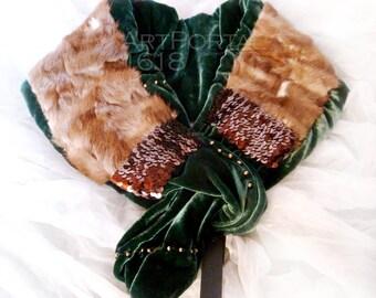SALE! -50% Brandy scarf, natural mink wrap Fur Gift Women's fur Collar Neckpiece Boa light brown silk velvet, sequins, one copy, By designer