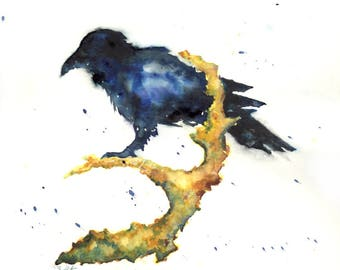 ORIGINAL WATERCOLOR PAINTING, bird watercolor, bird print, crows, black, raven, ravens, illustration, contemporary animals raven painting