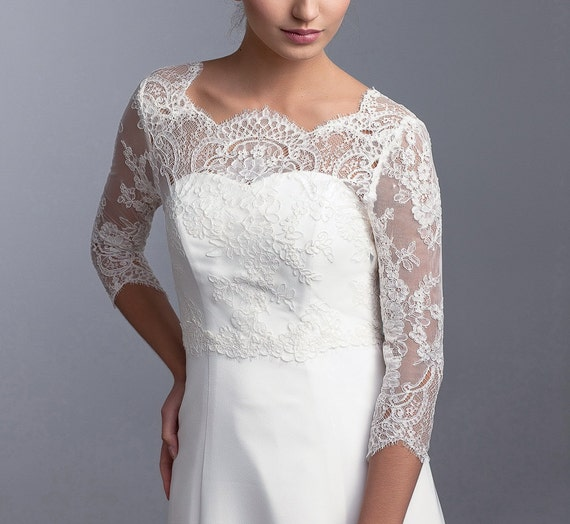 Long sleeve bridal topper lace topper bridal lace jacket for Long sleeve wedding dress topper