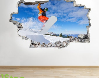 Snow Boarding Wall Sticker 3d Look - Boys Kids Bedroom Extreme Sport Wall Decal Z136