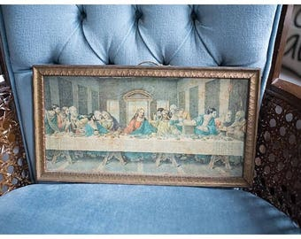 Vintage Last Supper Picture | Last Supper Wall Hanging | Religious Room Decor
