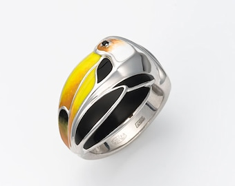 "Enamel Silver Ring ""Toucan"", Toucan ring, Animal jewelry, Tropical bird, Exotic bird"