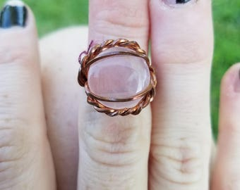 Copper wrapped rose quartz ring, size 5