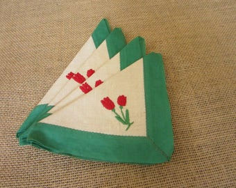 Vintage Embroidered Napkins with Tulips, Set of 4