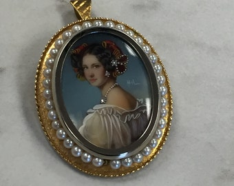 18kt Yellow Gold Diamond and Pearl Pendant and Pin Combination from Italy