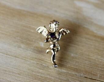 Stunning Gold & Sapphire Guardian Angel Pin - Great Gift!