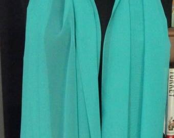Turkish oya scarf, long scarf with beaded crocheted edging, beaded crocheted trim, long green scarf, green chiffon scarf