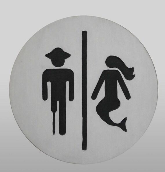 Pirate Mermaid Bathroom Sign