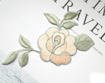 Pink flower patch ,flower embroidered Iron-on patch ,embroidered patch
