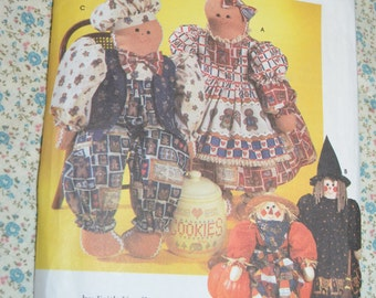 Simplicity 7345 31 Inch  Doll and Clothes Sewing Pattern - UNCUT -  Gingerbread, Scarecrow Doll Pattern