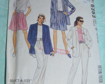 McCalls 6383 Misses Unlined Jacket op Shorts and Pants Sewing Pattern - UNCUT - Size 8 10 12