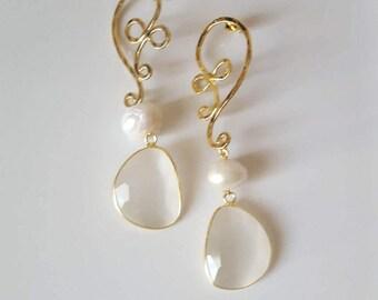 Handmade earrings, handmade hook, pearls, natural stone