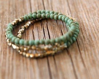 turquoise Bracelet SET , Beaded Bracelet, Beaded Stacking Bracelet , Elastic Bracele, Bracelets Stacks, set of 3 bracelet