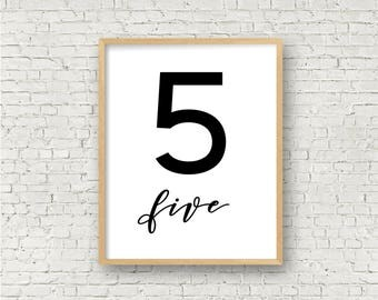 Number Five // Simple 5 Printable // Individual Numbers Wall Art Print // 8x10 // Digital Print File // Numerology Gift // Black and White