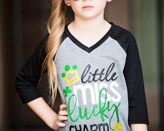 Little Miss Lucky Charm - St. Patricks Shirt - Pattys Day Shirt - Lucky Shirt - Lucky T-shirt - St. Patricks Day Shirt -  Four Leaf Clover