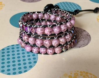 Wrap Bracelet, Purple/Gold Wrap Bracelet, Leather Wrap Bracelet, Beaded Wrap Bracelet, Beaded Bracelet, Leather Wrap, YoungBeadsCrafts