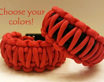 Paracord bracelet, survival gear, parachute cord, hiking gear, 550 nylon paracord, king cobra