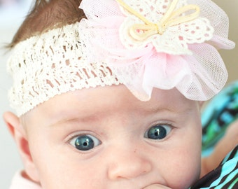Baby Girl Headband with pink chiffon flower and lace