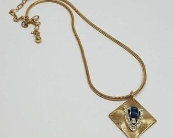 Beautiful Coro Diamond Pendant Necklace with Blue & Clear Rhinestones
