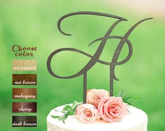 Letter H cake topper, Initial Cake Topper, Initial Wedding Cake Topper, letter cake topper Natural Cake Topper, Cake Topper letter h, CT#054