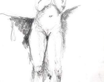 Standing female model graphite drawing