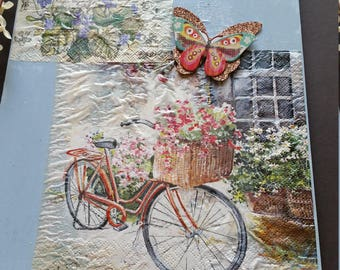 wall decor, home decor, Mother's Day, 8x12 wood plaque, flowers, bicycle, butterfly