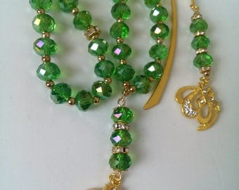 Gift Set green sparkle tasbeeh with gold plated Allah pendant plus matching bookmark. tasbih, Quran, muslim, hajj, eid ramadan, nikah tasbih