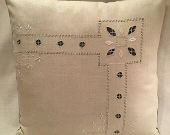 Vintage Cut Work Linen Pillow