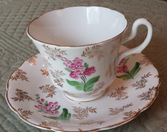 Vintage Royal Stuart by Spencer Stevenson - Gold with Pink Flowers - Cup and Saucer Set