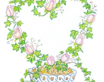 note card for wedding or anniversary:  budding romance
