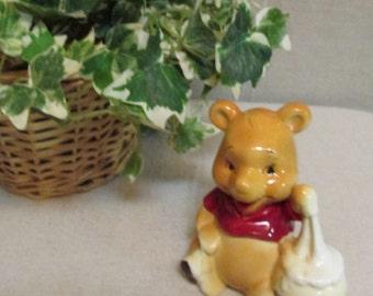 Vintage 1960's-70's WDP Walt Disney Productions Winnie The Pooh With Hunny Pot Ceramic Porcelain Figurine Japan