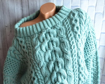 Knitted sweater oversize. Cable knit sweater. Handwork. For  different seasons.In stock and on order