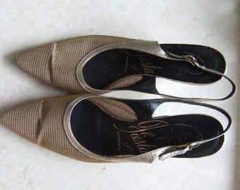 Gold mesh 1950's kitten heel